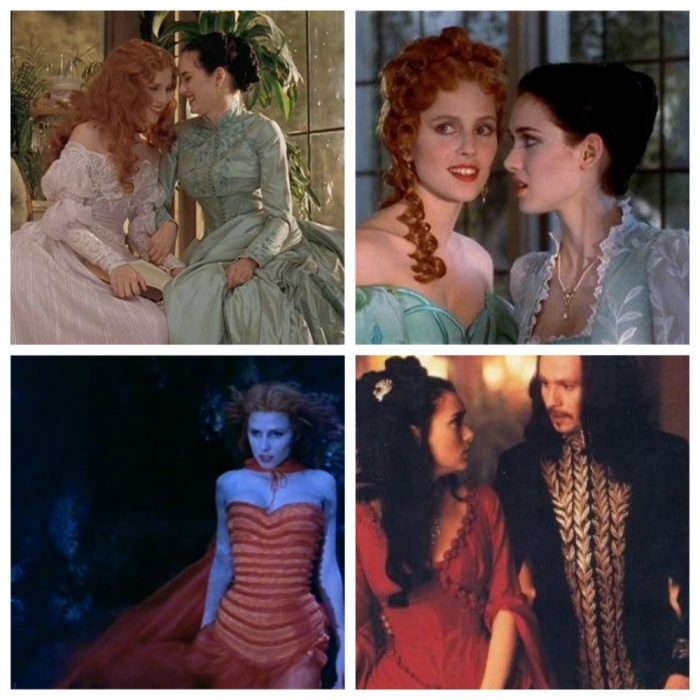 Top Left and Right: Lucy (Sadie Frost) and Mina (Winona Ryder) talk in Bram Stoker's Dracula. Bottom Left: Lucy (Sadie Frost) hears Dracula calling to her. Bottom Right: Mina (Winona Ryder) looks at Dracula (Gary Oldman)