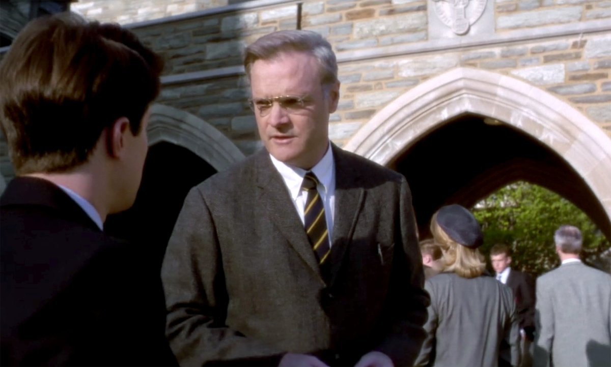 Headmaster Bartlet talks to his son outside a chapel