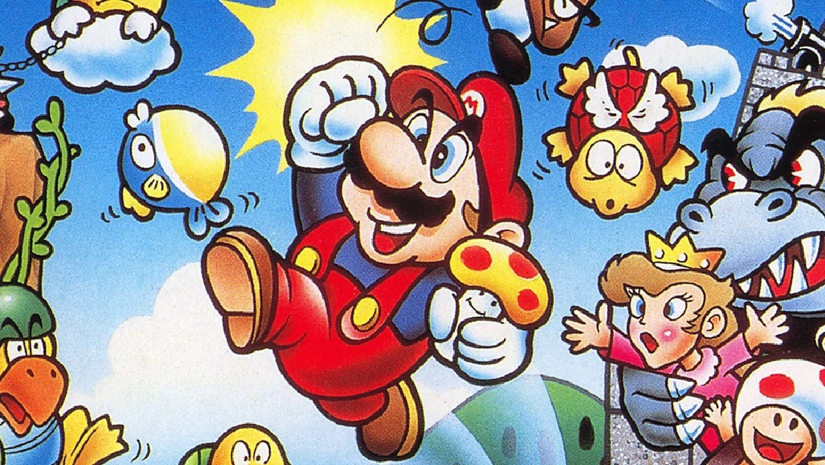 Japanese cover art from the Super Mario Bros game. Mario jumps through the air with a mushroom in hand. Enemies from the game surround him, as Princess Toadstood and Bowser watch from a castle.