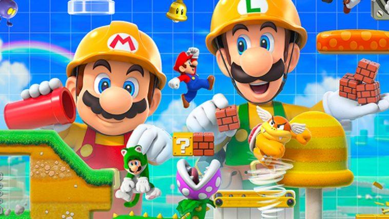 Cover art of Super Mario Maker 2 features Mario and Luigi in construction hats designing a course as a playable Mario runs through the level