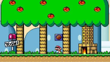 Mario visits Yoshi's home, which features a built in fireplace inside the large tree he lives under.