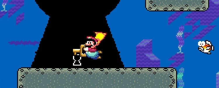 Mario underwater, with a key, finds and enters a magic keyhole.