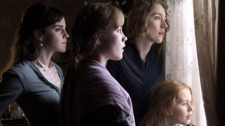 Meg, Amy, Jo and Beth look out a window