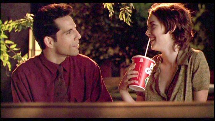 Michael and Lelaina in Reality Bites converse; Lelaina sips a Big Gulp soda