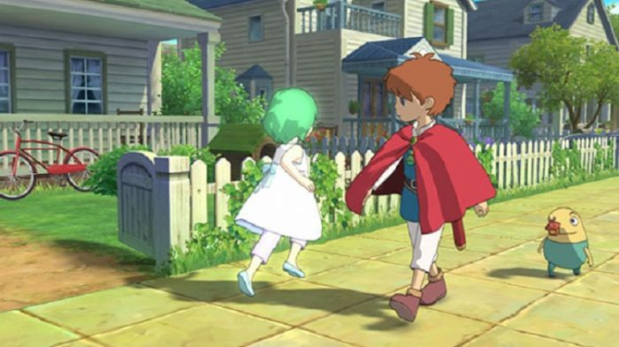 A young boy spots a green haired girl wearing all white, as his tiny creature friend Drippy follows from behind.