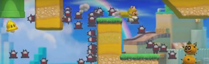 Cat Mario races to finish the level quickly as dozens of Ninji Ghosts race alongside him.