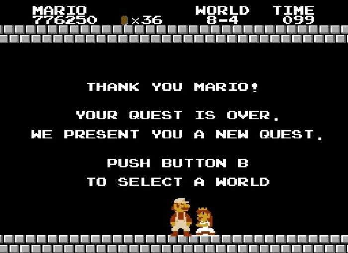"""Mario rescues Princess Toadstool. She says, """"Thank you Mario! Your quest is over. We present you a new quest!"""""""