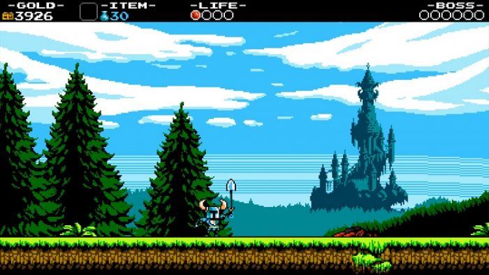 Shovel Knight raises his shovel victoriously after defeating the boss. In the background, a very Castlevania-looking castle can be seen.