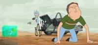 Rick steps out of a vehicle to vomit and kneels on the ground