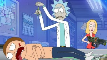 Morty is about to drop a needle into Rick
