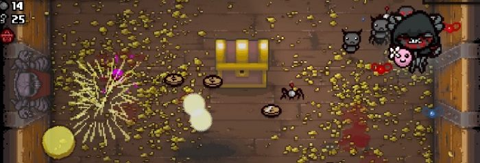 Typical mayhem happening in The Binding of Isaac. A large golden chest sits in the middle of a room filled with coins and golden flecks sprinkled on the ground. Your character, who has evolved into a floating monster, looks on and your tiny robot helper wanders the room.