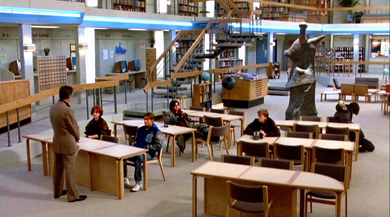 Long shot of Principal Vernon welcomes the five students to Saturday detention in the school library