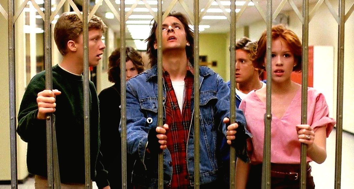 The Breakfast Club come to a dead end in a school hallway