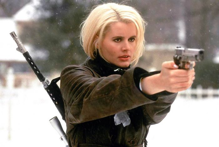 """Charly""Baltimore points her gun at some bad guys outside in the snow"