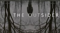 A shadow reflecting in water with the title card for The Outsider over the water