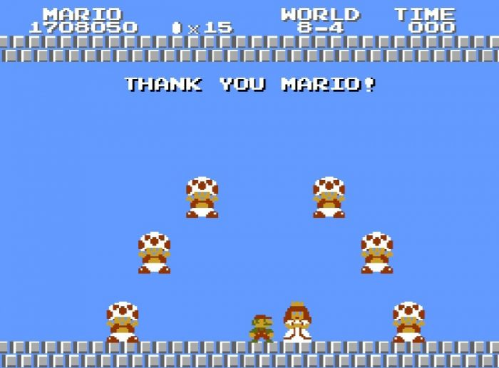 """7 Mushroom Retainers (only 6 pictured) say """"Thank you Mario!"""" as they blink in and out over Mario and Princess Toadstool."""