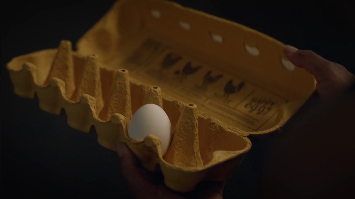 Watchmen - An egg carton is held open with only one egg remaining in it