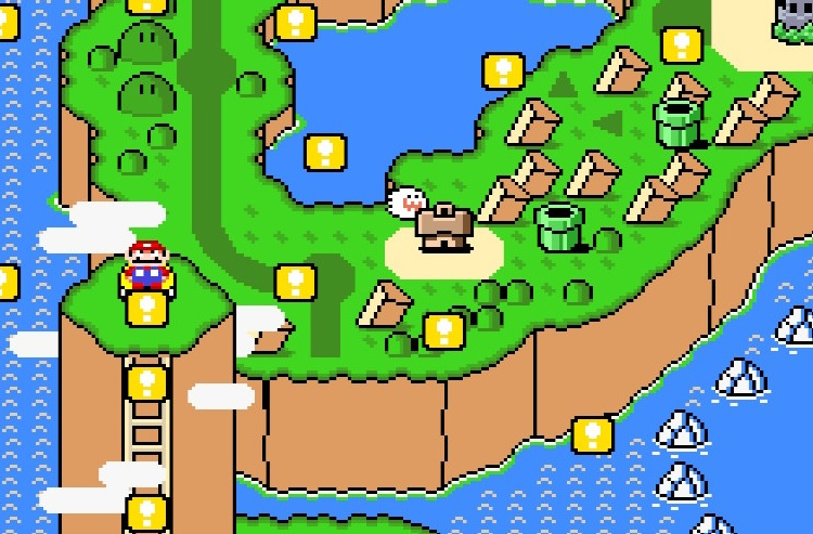 Yellow exclamation point blocks shoot out of the Yellow Switch Palace on the Super Mario World map.