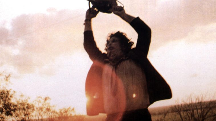 Gunnar Hansen, as Leatherface, waving his chainsaw in frustration at the end of Tobe Hooper's The Texas Chain Saw Massacre, from 1974.