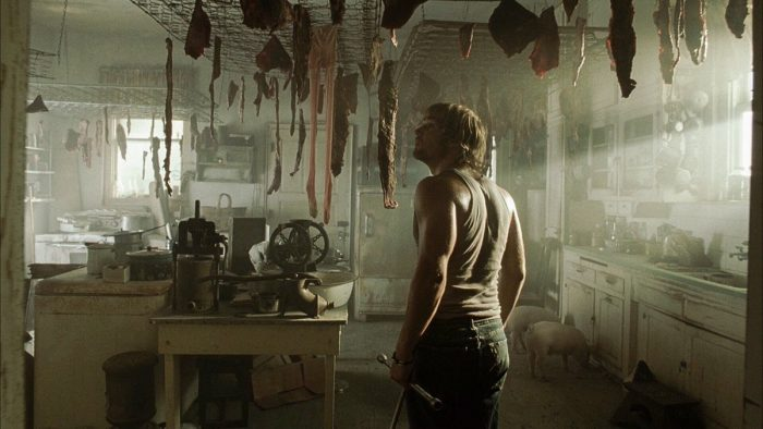 Andy admiring the decorations, from the 2003 remake The Texas Chainsaw Massacre.