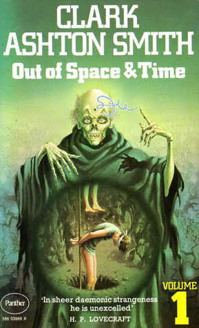 Image of Clark Ashton Smith's Out of Space and Time with a green skeletal creature.