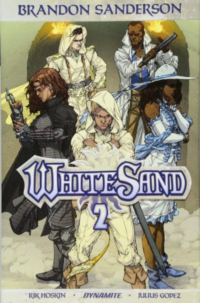 The cover of the second volume of White Sand, featuring Kenton in the foreground and several figures in differing attire surrounding him.