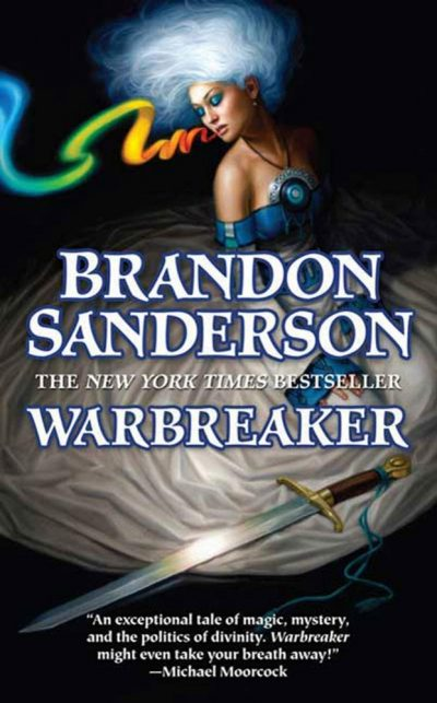 The cover of Warbreaker, which has a woman in a dress with glowing white hair reaching for a sword and breathing a rainbow out of her mouth.