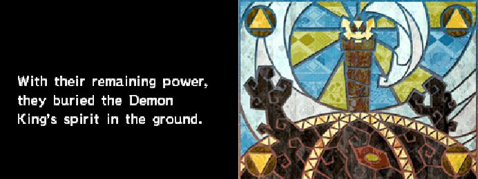 "The tale of the Demon King from Spirit Tracks. It reads: ""With their remaining power, they buried the Demon. King's spirit in the ground."" An image of stained glass is shown to the right."