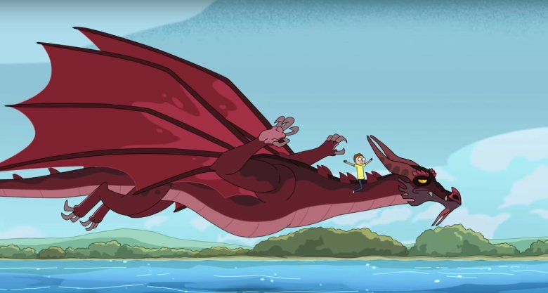 a dragon carries rick and morty across the sea