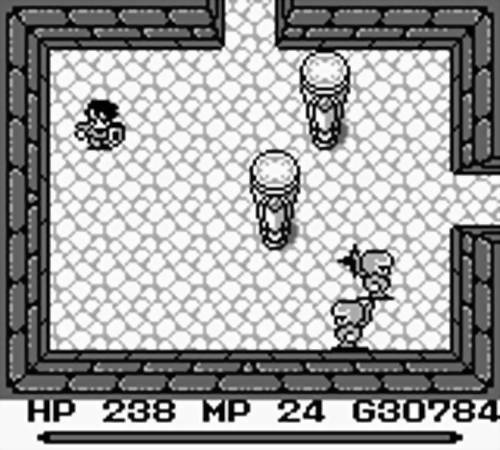 The protagonist is in a dungeon room with some pillars and ninjas