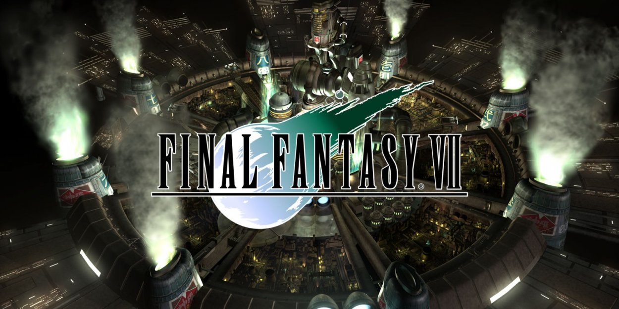 The Final Fantasy VII Logo over the sprawling image of an industrial city.