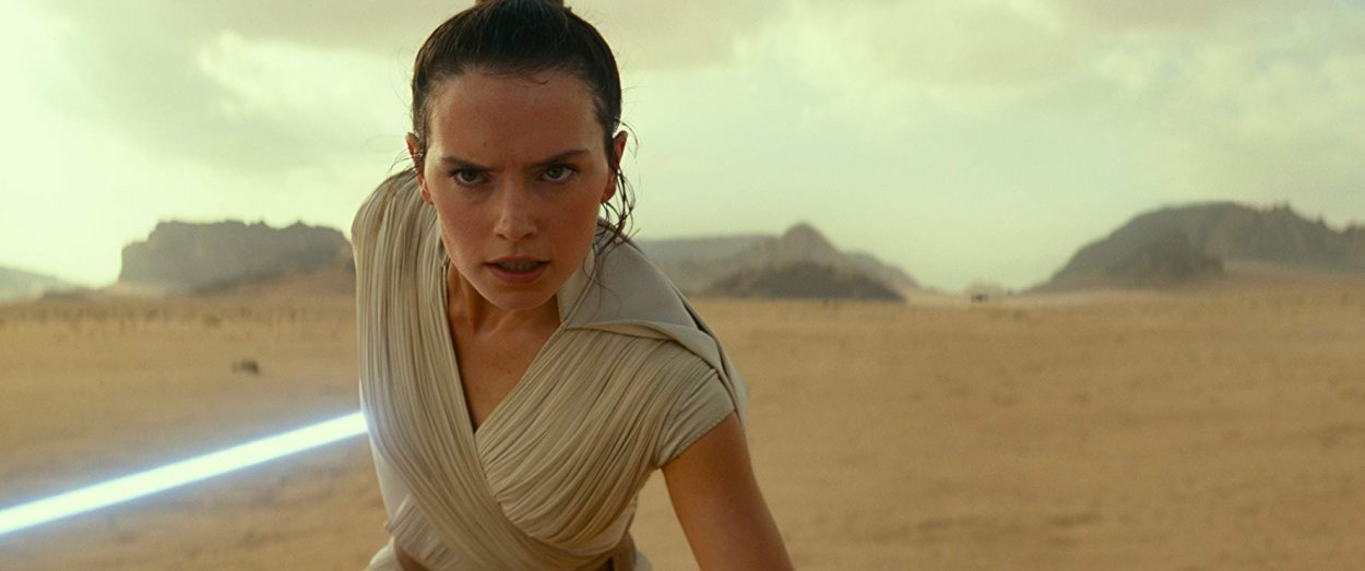 Rey (Daisy Ridley) focuses to prepare for confrontation on a desert plain