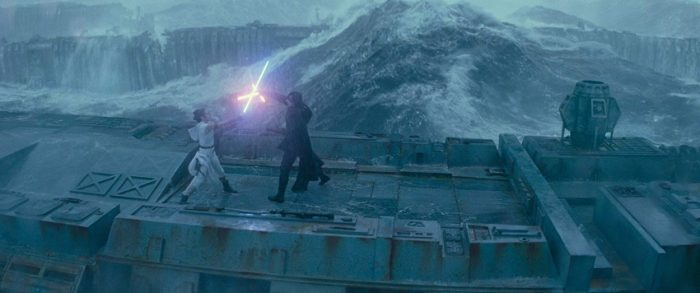 Rey (left) battles Kylo Ren (right) on the sunken remnants of the Death Star