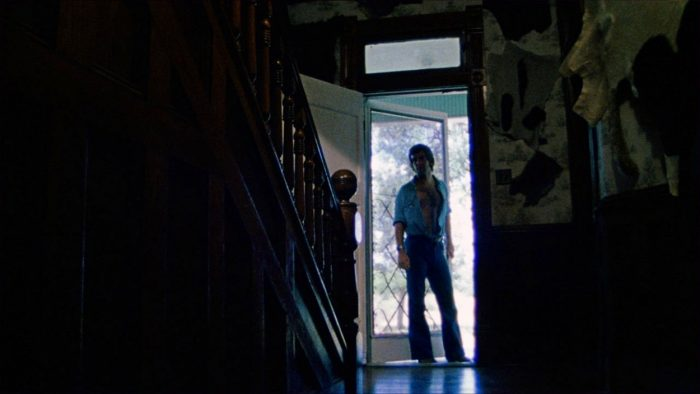 Kirk entering the farmhouse, from The Texas Chain Saw Massacre.