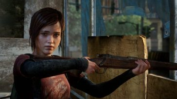 Ellie looks to her right while holding a rifle