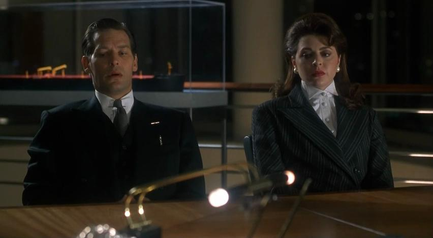 James Remar and Jane Leeves in A Miracle on 34th St being berated by their boss