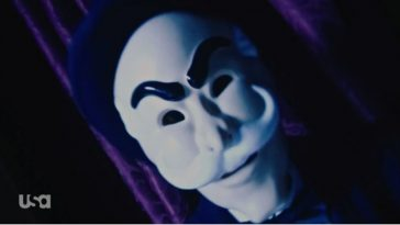 Darlene wears the f society mask from The Careful Massacare of the Bourgeoisie
