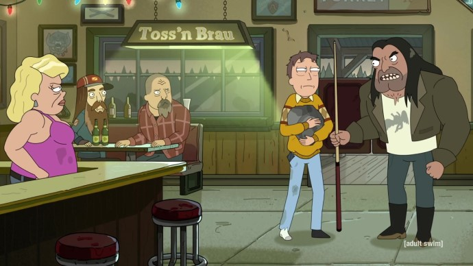 Jerry upsets a man in a bar with a pool cue while other patrons look on