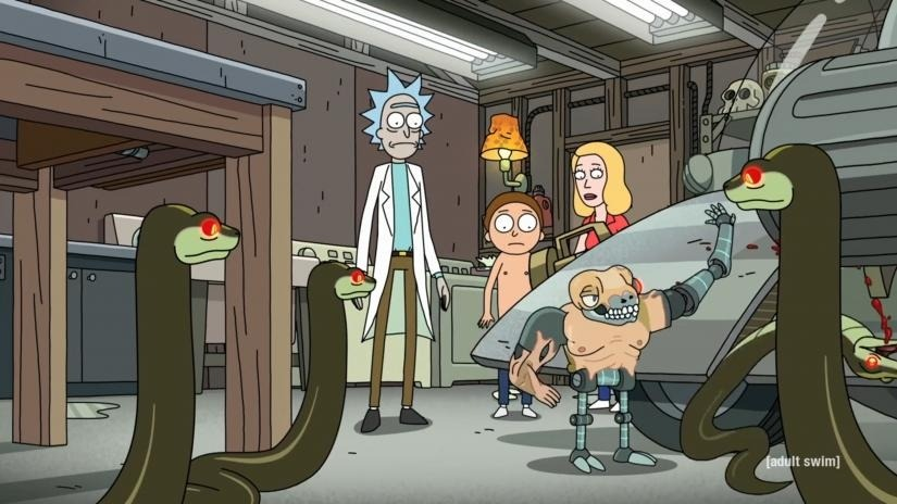 Rick and Morty and Beth confronted by snakes