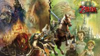 promotional art of the game, showing link on his horse epona, next midna on wolf-link, with a background full of characters and locations in the game