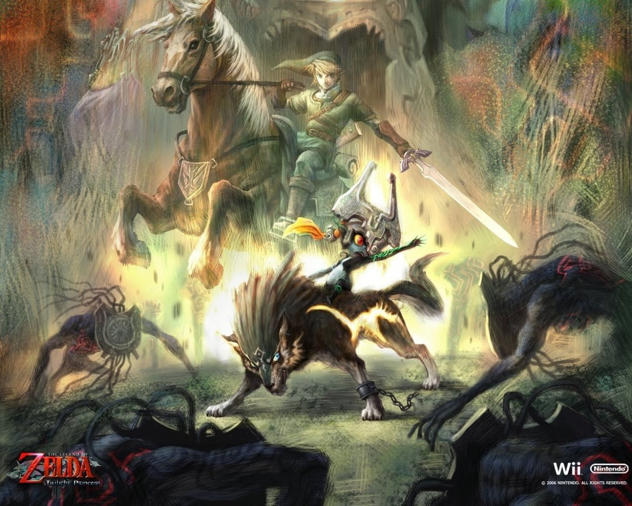 promotional art for the game, with link on his horse epona, with minda on wolf-link in front of him