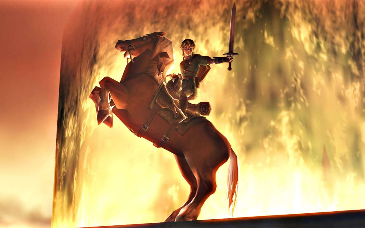 link on his horse in epona. Epona is on two legs with link holding his sword out, all in front of a epic background.