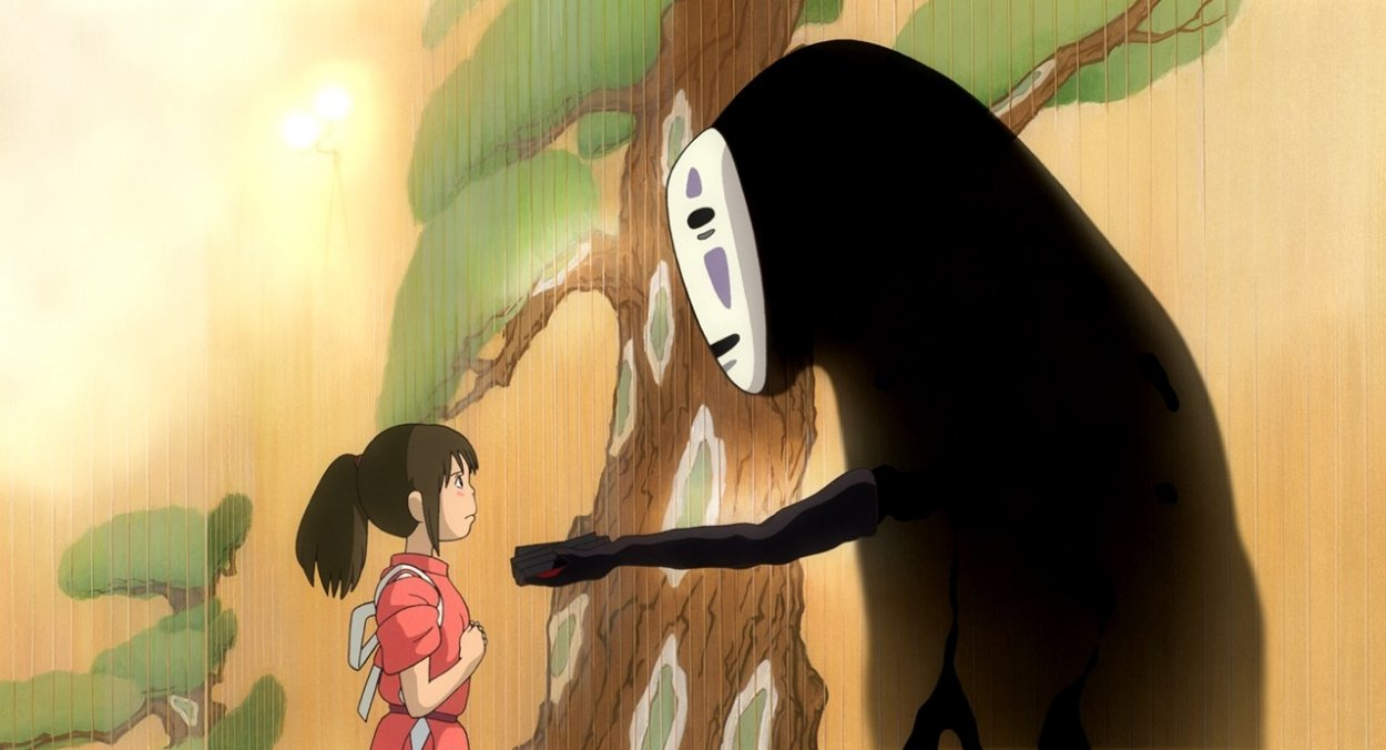 No Face offers Chihiro some tokens in the Bathouse