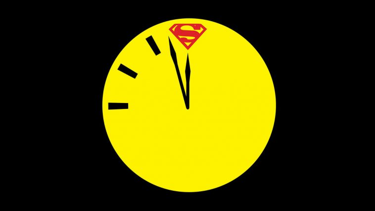 Doomsday Clock with Superman's logo at 12