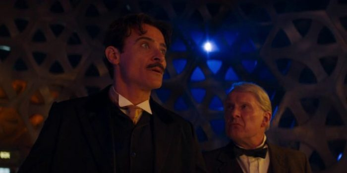 "Tesla and Edison look around the TARDIS in Doctor Who ""Tesla's Night of Terror"""