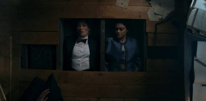 "The Doctor (Jodie Whittaker) and Ada Lovelace (Sylvie Briggs) get out from hiding under the floorboards in Doctor Who's ""Spyfall Part 2"""