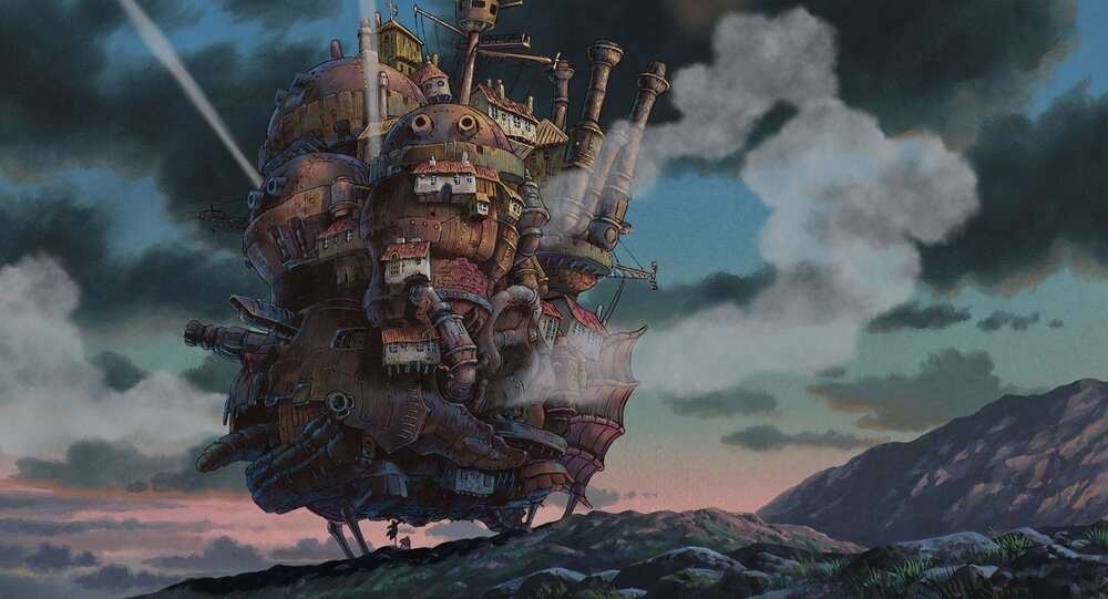 Howl's Moving Castle, a pile of stacked, different structures that walks on legs and run by steam power