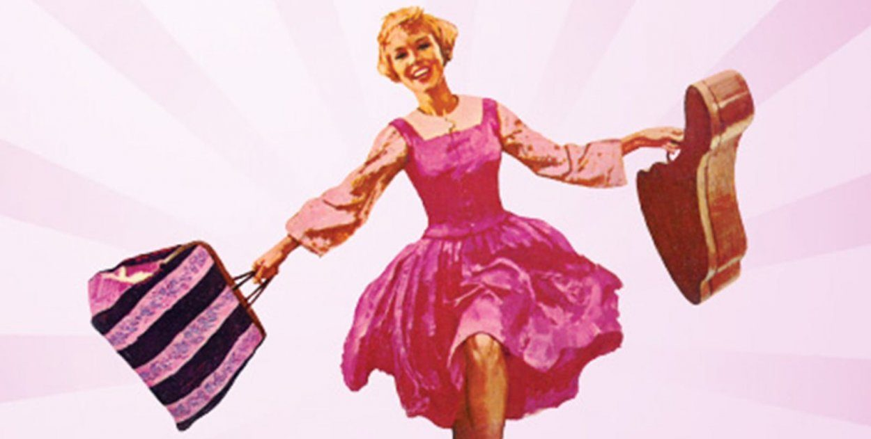 Painting of Maria skipping with suitcase in hand and guitar in the other