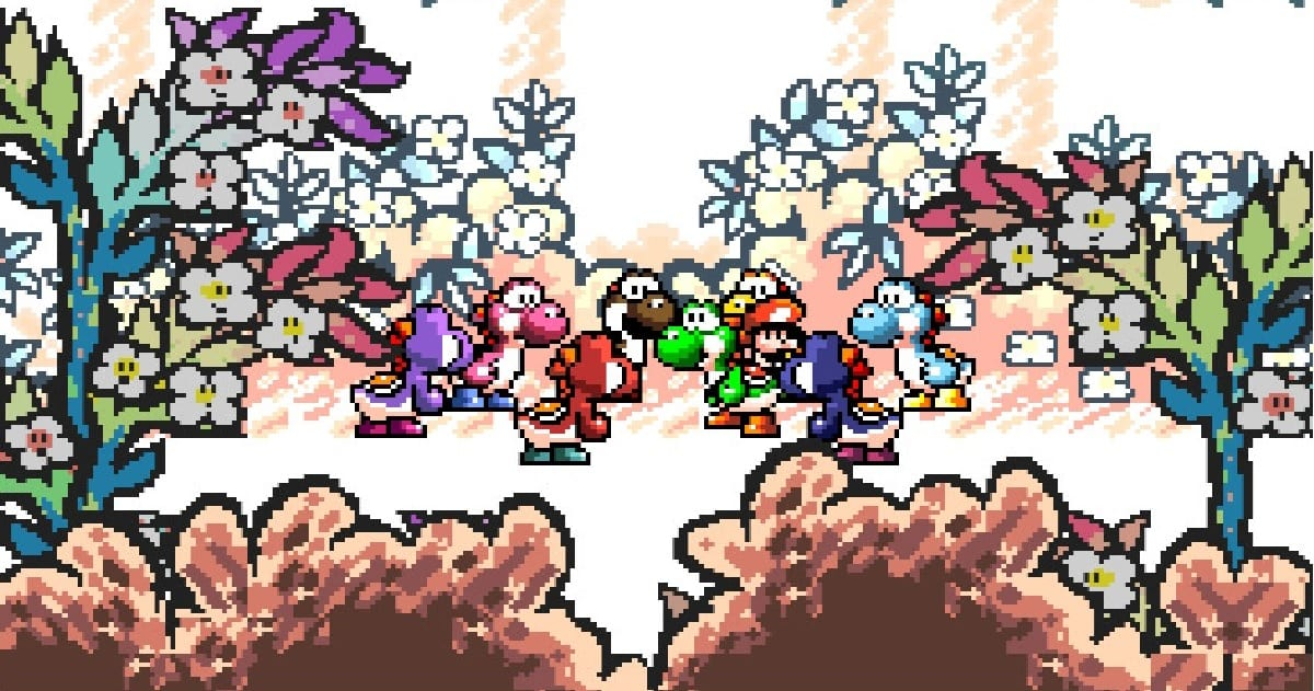 A group of multi-colored Yoshi gather around Baby Mario.