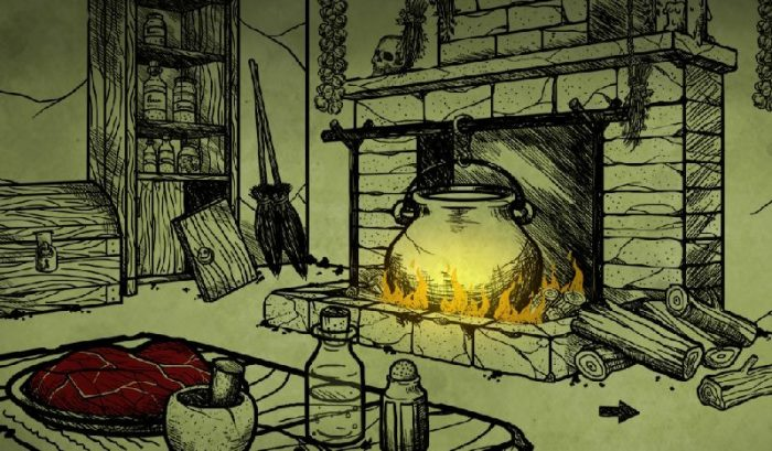 Inside the Witch's House. A bubbling cauldron sits in the fireplace, while a large chunk of meat sits on the table. Only the fire and the meat have color.